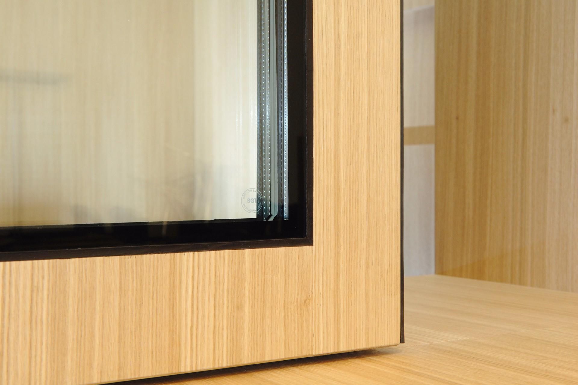 Schalter EI30 Schieber verglast Holz Eiche